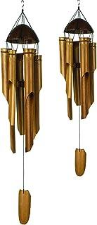 VIE Naturals Handmade Bamboo Wind Chimes, Set of 2 (Medium 40cm and Small 30cm)