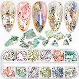 12 Colors Colorful Irregular Abalone Seashell Slices 3D Nail Art Sequins Supplies Nail Art Shell Slices Design UV Gel Flake Mermaid DIY Nail Decorations