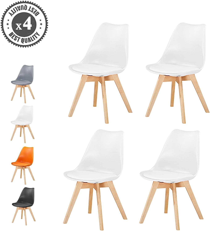 Retro Esszimmerstühle gepolstert, Design Stuhl, Küche, Lounge, 4er Set EVA (Wei)