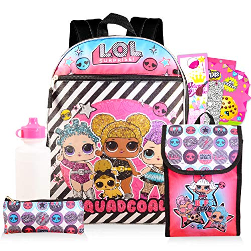 LOL Dolls Backpack and Lunch Box for Girls Bundle ~ Deluxe 16' 5-Pc Backpack, Insulated Lunch Bag, Over 300 LOL Stickers, and More (LOL Dolls School Supplies)