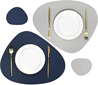 ACMEDE Set de 6 Sets de Table et Dessous de Verre en Cuir PU, 6 Sets de Table Ovale et 6 Dessous de Verre Ovale pour dîner...