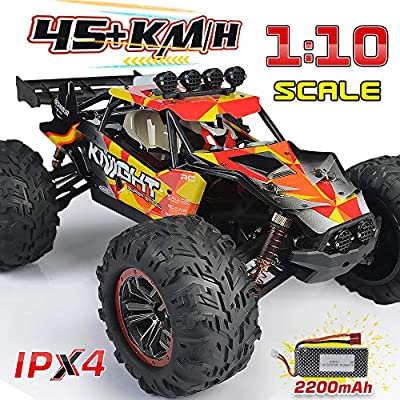 1:10 Large Remote Control Car, INGQU 45+KM/H High Speed Off Road Remote Control Monster Truck, All Terrain Waterproof Racing RC Cars, 2.4GHz 4WD Electric Vehicle for Boys, Toys for Kids & Adults
