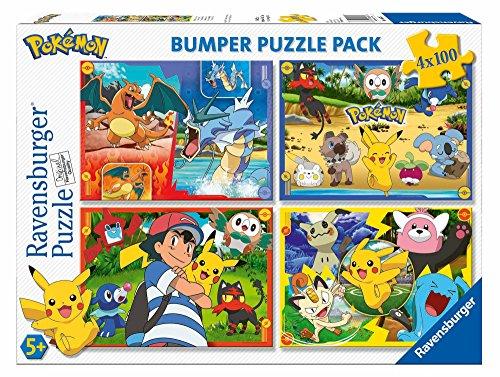 Ravensburger- Puzzle 4 x 100 Piezas Bumper Pack, Pokémon (6929)
