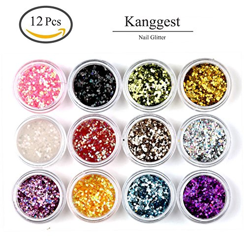 Kanggest 12Pcs Brillo Hexagonal Colorido Cequis Clavo