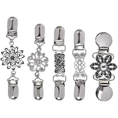 TIMESETL Clip de rebeca de mujer 4 piezas Clips de suéter vintage con flores Diamantes de imitación, Collar de bufanda metal Cadena de suéter Clip de rebeca de plata creativa