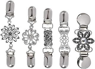 TIMESETL Clip da cardigan da donna 4 pezzi Clip da maglione vintage con fiori Strass, collana con sciarpa in metallo Caten...