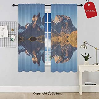 Majestic Rocky Mountains with Reflections on the Lake Creek Idyllic Landscape Rod Pocket Sheer Voile Window Curtain Panels for Kids Room,Kitchen,Living Room & Bedroom,2 Panels,Each 52x54 Inch,Blue Br