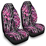 Etmriy 2PCS Pink Wildfire Seat Covers for Cars Vehicle Accessories Upgrade - Hunting Camouflage Car Seat Covers Set of 2 with Elasticity Stretched to fit Most Cars White OneSize