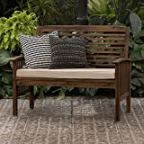Walker Edison Rendezvous Modern Solid Acacia Wood Patio Loveseat with Cushions,...