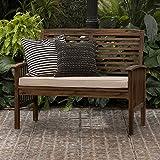Walker Edison Furniture Company AZWLSDB Wood Outdoor Patio Ladder Back Loveseat...