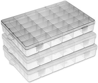 FSC ظروف سازنده نورپردازی جعبه جواهرات پلاستیکی جعبه ذخیره سازی دانه های منسوجات جعبه ماهیگیری مخازن جعبه ذخیره سازی ظروف پلاستیکی با تقسیم 36grids / 3pack