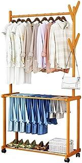 Bamboo Coat Rack, Garment Rack, Clothes Hanger Storage Shelves Hall Free-Standing Hanger Rack with 2 Shelves 4 Hooks for Clothes - DIY Rack (Size : 70x37x175cm)