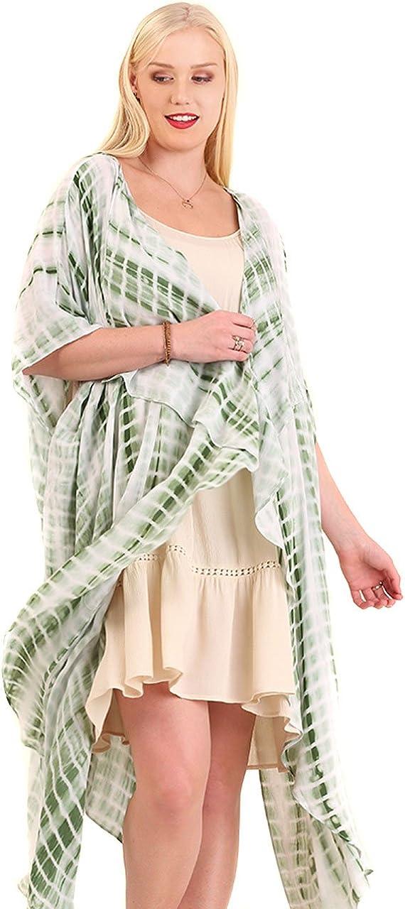 Umgee Women's Plus Bohemian Tie Dye Drape Boho Chic Long Cardigan Jacket