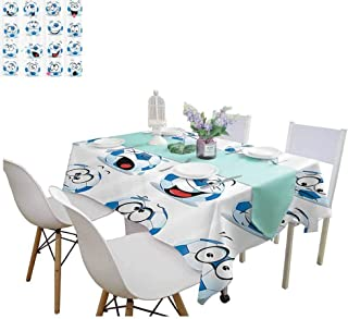 familytaste Table Covers Sports Decor Collection,Cartoon Soccer Ball with Many Expressions Bored Laughing Happy Smiley Image,Blue White Red Pink Fabric Print Tablecloth 70 x 120 Inch