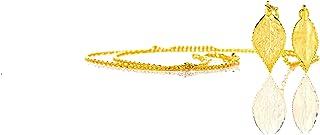 Amarjon BioJewel Yellow Gold-Plated Adjustable Necktie Necklace - 2 Rosebush Leaves Handmade Bio Jewelry for Women, 15''