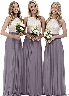 Zhongde Women's A Line Long Top Lace Chiffon Bridesmaid Dress Evening Gown Wedding Party