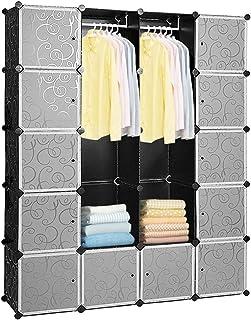 Hengda 20 cubes à monter soi-même en plastique avec portes Noir 180 x 142 x 37 cm