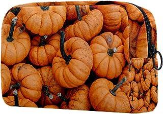 Halloween Pumpkin Makeup Bag Toiletry Bag for Women Skincare Cosmetic Handy Pouch Zipper Handbag