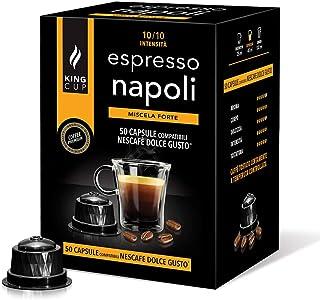 King Cup - Paquet de 50 Capsules de café Nescafè Dolce Gusto Mélange Naples, Intensité 10/10, Café Dense et Crémeux, 50 Ca...