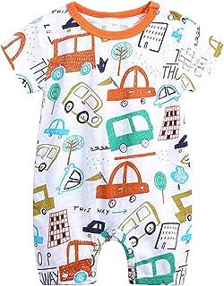 Baby Boys and Girls' Summer Short Sleeve Pajama Cute Cartoon Zipper Romper Outfits