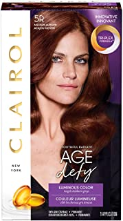 Clairol Age Defy Expert Collection, 5R Medium Auburn, Permanent Hair Color, 1 Kit (PACKAGING MAY VARY)