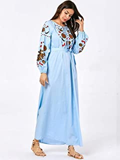 New Muslim Women Embroidery Abaya Puff Sleeve Maxi Dress Belt Arab Dubai Islamic Robe Gown Drawstring O-neck 2019 Autumn Fashion