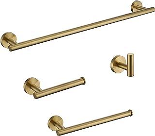 Iriber Bathroom Accessories Towel Bar Rack Shelf Caddy Hardware Set,Modern Stainless Steel Towel Robe Hook Toilet Paper Ho...