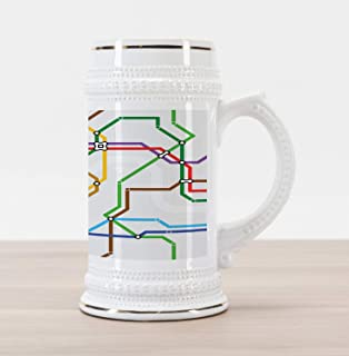 Ambesonne Map Beer Stein Mug, Stripes in Vibrant Colors Metro Scheme Subway Stations Abstract Railroad Transportation, Traditional Style Decorative Printed Ceramic Large Beer Mug Stein, Multicolor