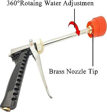 "Pmsanzay Garden Brass Hose Nozzle, Heavy Duty Spray Gun, 360° Rotaing Water Adjustmen High Pressure Leak Proof Pistol Grip Sprayer for Car Washing, Garden Plants Watering, Pets Shower, Thread G1/4"""
