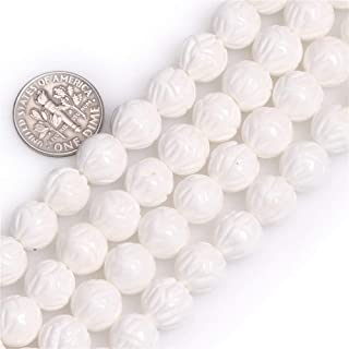 8mm Natural White Lotus Carved Tridacna Shell Beads Loose Gemstone Beads for Jewelry Making Strand 15 Inch (47-50pcs)