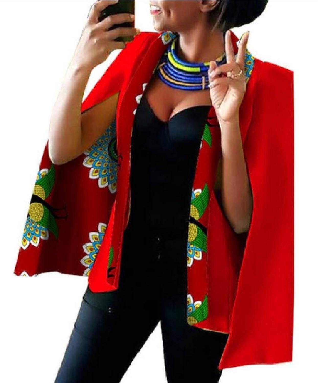 Jxfd Womens African Print Open Front Party Clubwear Jacket Blazer Coats