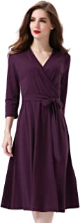 Women's Casual Faux Wrap Fit and Flare Dress Crossover V Neck with Belt
