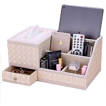 卓上収納ケース ティッシュケース デスクオーガナイザー 小物入れ ペン立て リモコンラック 多機能収納ボックス PUレザー 高級感 (ホワイト)