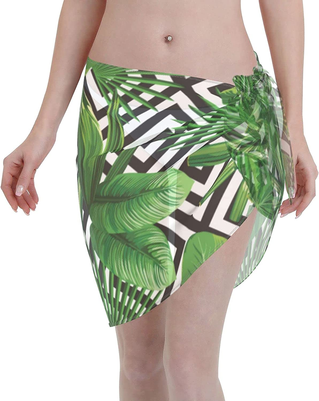 Reindeer Horn Women Short Summer Exotic Jungle Tropical Palm Tree Leaves Sarongs Cover Ups Beach Chiffon Sarong Bikini Swimwear Black