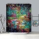 XCBN 3D Ziegel Wand Duschvorhang Geometrische wasserdichte Privatsphäre Duschvorhang Geeignet Für Badezimmer Dekoration A3 180x180cm