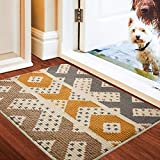 Color&Geometry Non-slip Door Mat 50 x 80 cm, Machine Washable Soft Doormat Dirt Trapper Area Rug Front Door Entrance Rug for Indoor, Outdoor, Living Room, Hallway, Courtyard (Beige)