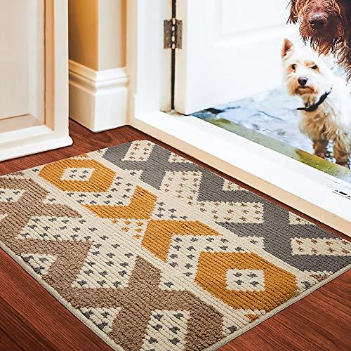 Color&Geometry Fußmatte innen 90x150 cm, rutschfeste Schmutzfangmatte Waschbar Türmatte Groß Eingangsteppich für Eingangsbereich, Haustür, innen und außen(Gelb)