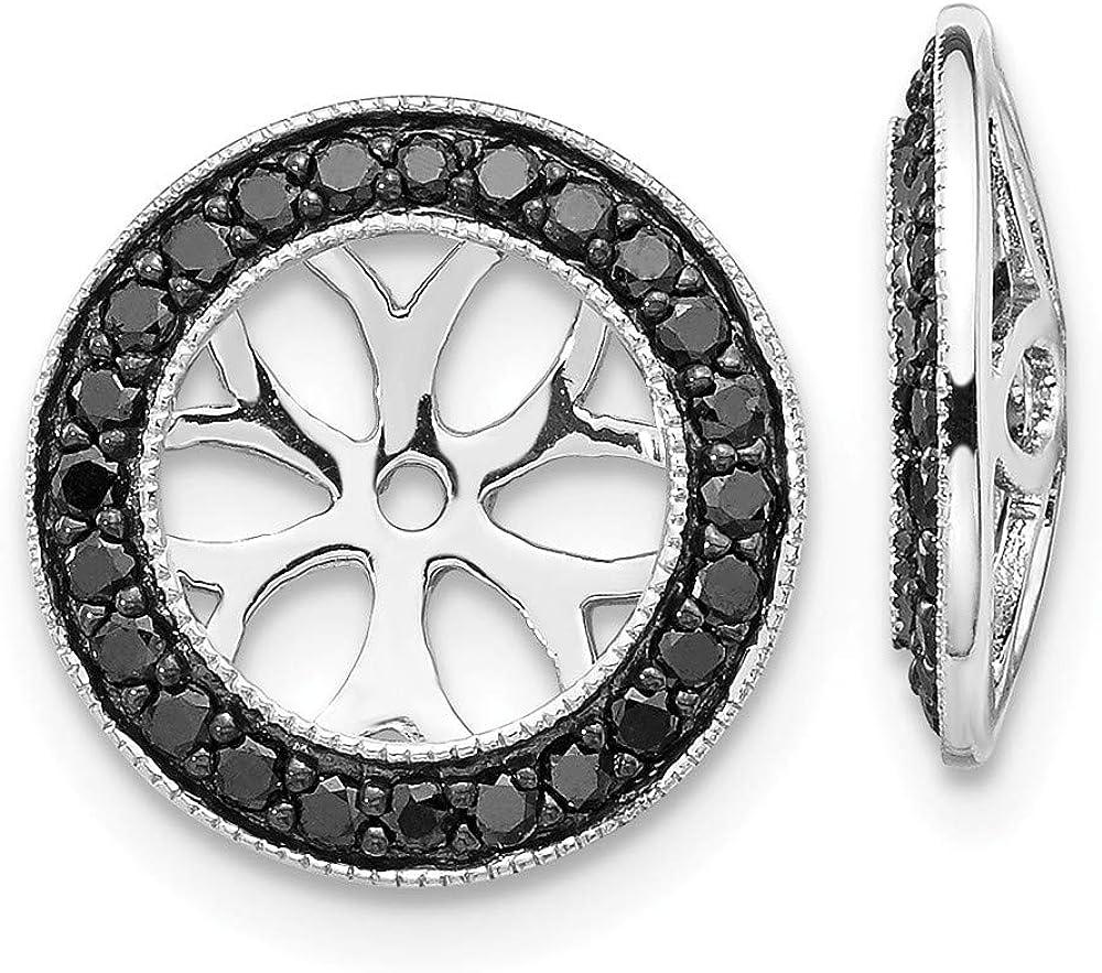 Solid 14k White Gold Black Diamond Earring Jackets 12mm (.368 cttw.)