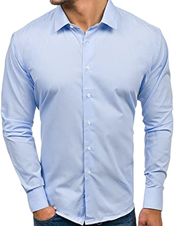 Boyang - Camisas de manga larga para hombre, de corte ...