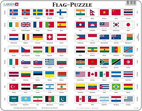 Larsen L2 Rompecabezas de la Bandera, edición en Inglés, Puzzle de Marco con 80 Piezas