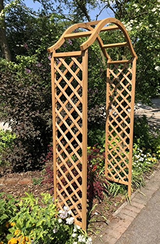 Ruddings Wood Wooden Garden Tan Arch Includes 4 Black Ground Spikes - Wood Arbour Pergola Plant Support
