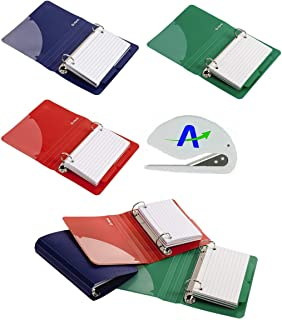 """Oxford Index Card Binder with Dividers, 3"""" x 5"""", Color Will Vary, 50 Cards, 6 Binders, 2 of each Color (73570) with Bonus ..."""