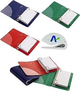 牛津索引卡活页夹带分隔带,7.62 cm x 12.70 cm,颜色随机,50 张卡片,6 个活页夹,每种颜色 2 件 (73570) 附赠 AOP 定制开封器