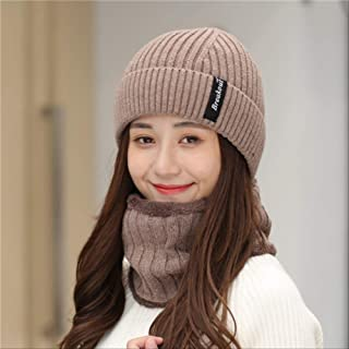 MZHHAOAN Autumn Winter Women Hat Plush Line Cap Collar Head Mixed Color Knitted Beanie Riding Cold Weather Accessories