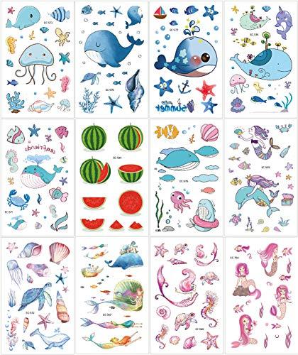 Tatouages temporaires de Sea World pour enfants, 12 feuilles, grand cadeau pour enfant, sirène non toxique, dauphins sirène baleine pour l'école