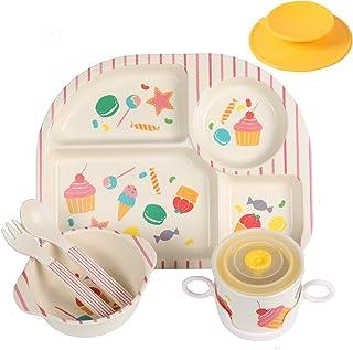 Shopwithgreen 5Pcs/Set Bamboo Fiber Children Board Food Plate Bowl Cup Spoon Fork Set Dishware Cartoon Tableware Dishwashe...