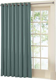 Collections Etc Multipurpose Gramercy Patio Door Curtain Panel with Wand, Mineral Blue