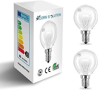 AcornSolution Bombillas redondas G45-E14 de rosca pequeña, 40 W, 240 V, clase energética E, 2 unidades