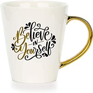 Inspirational Coffee Mugs For Women - Believe in Yourself | Movitavational Ceramic Mug Gift Set with quotes and gold handle for her. Cute birthday or Christmas surprise for Mom, Friends or Coworkers