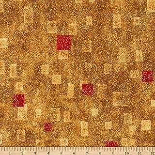 Robert Kaufman Kaufman Gustav Klimt Squares Red Metallic Fabric By The Yard